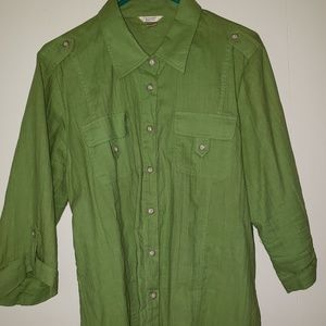 Womans green button up